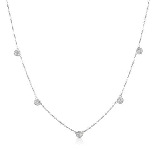 Crislu Pave Circles Chain Necklace in Platinum