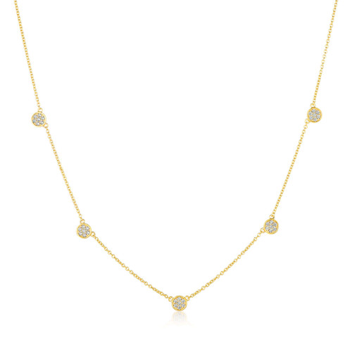 Crislu Pave Circles Chain Necklace in Yellow Gold