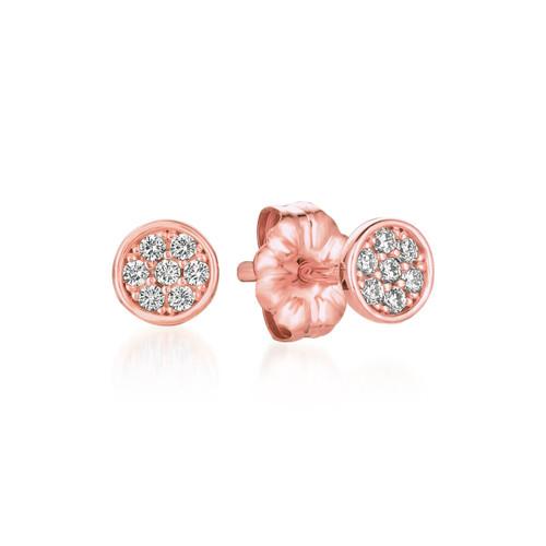 Crislu Pave Circle Stud Earrings in Rose Gold
