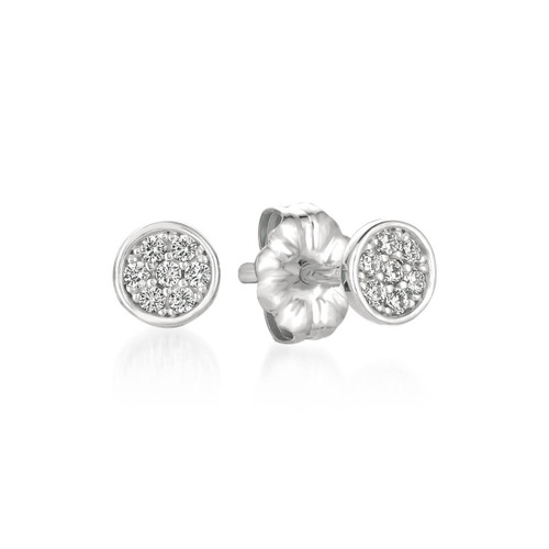 Crislu Pave Circle Stud Earrings in Platinum