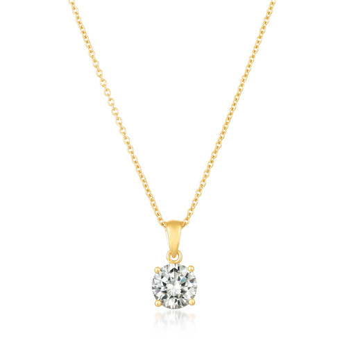Crislu Royal Cut Pendant in Yellow Gold Plating