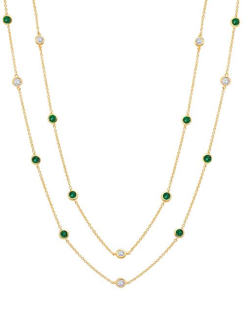 Crislu Bezel Set Emerald and Clear CZ Chain Necklace
