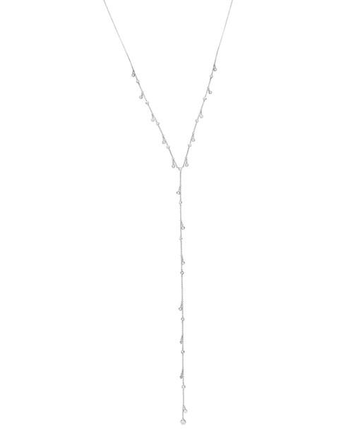 Crislu Bezel Set Adjustable Y- Necklace, Platinum