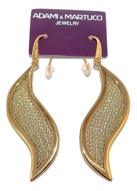 Adami & Martucci Leaf Shape Gold Mesh Earrings