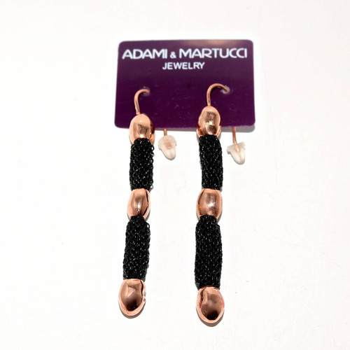 Adami & Martucci Black Mesh Earrings With Rose Gold Hammered Beads