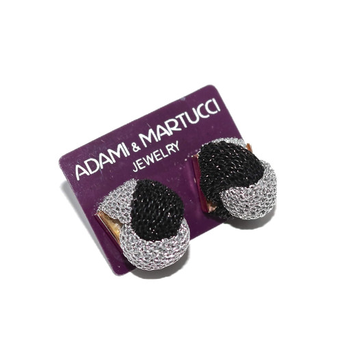 Adami & Martucci Twisted Silver and Black Mesh Stud Earrings
