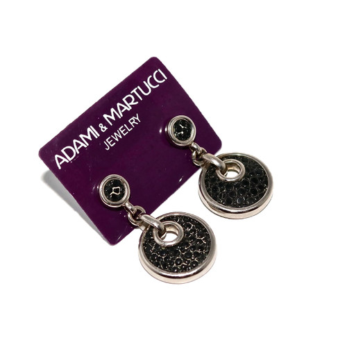 Adami & Martucci Black Stingray Circle Silver Earrings