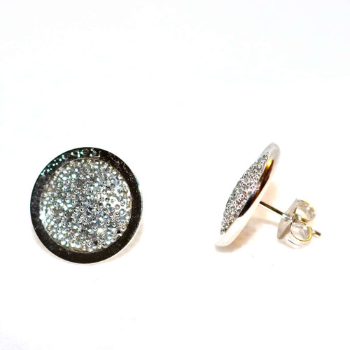 Circle Stud Earrings in Stainless Steel with Silver Glam