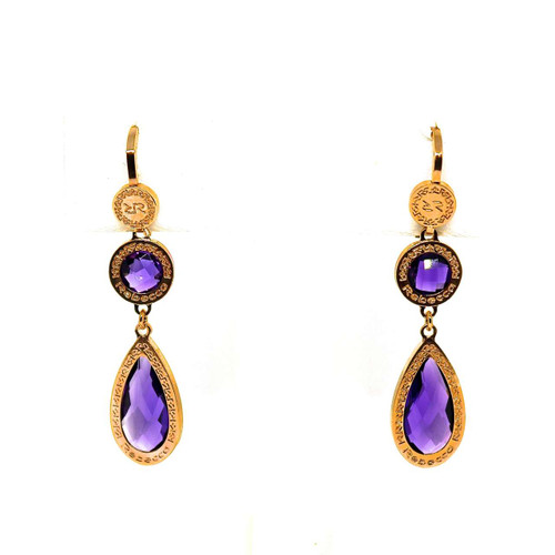 Drop Earrings with Multi-Shape Purple Crystals in Rose Gold