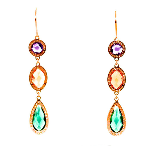 Drop Earrings with Multi-Color Crystals in Rose Gold