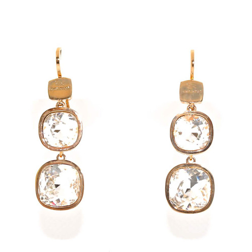 Drop Earrings with Dual Square Clear Crystals in Rose Gold