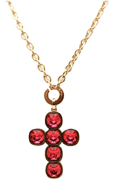 Cross Pendant with Pink Swarovski Crystals