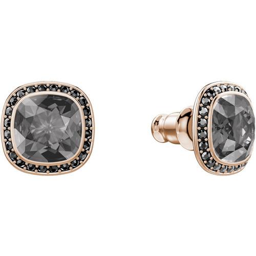 Swarovski Latitude Stud Earrings, Black in Rose Gold