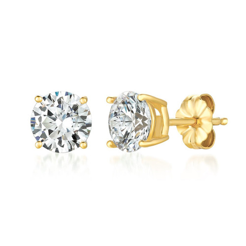 Crislu Yellow Gold Plated Solitaire Stud Earrings, 2.0 ct.