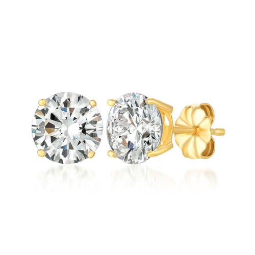 Crislu Yellow Gold Plated Solitaire Stud Earrings, 4.0 ct.
