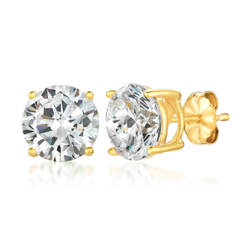 Crislu Yellow Gold Plated Solitaire Stud Earrings, 6.0 ct.