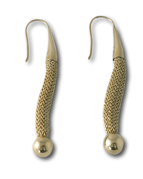 Adami & Martucci Mesh Drop Earrings with Gold Beads