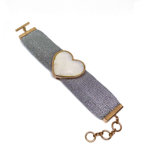 Adami and Martucci Silver Mesh Bracelet with Mother of Pearl Heart