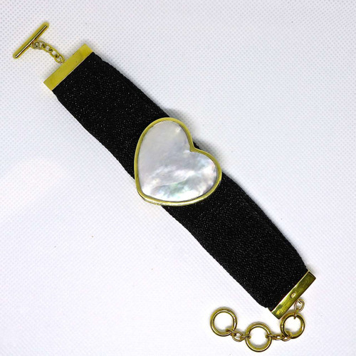 Adami and Martucci Black Mesh Bracelet with Mother of Pearl Heart