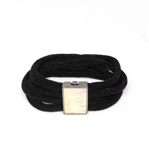 Adami and Martucci Black Mesh Bracelet with Mother of Pearl Buckle