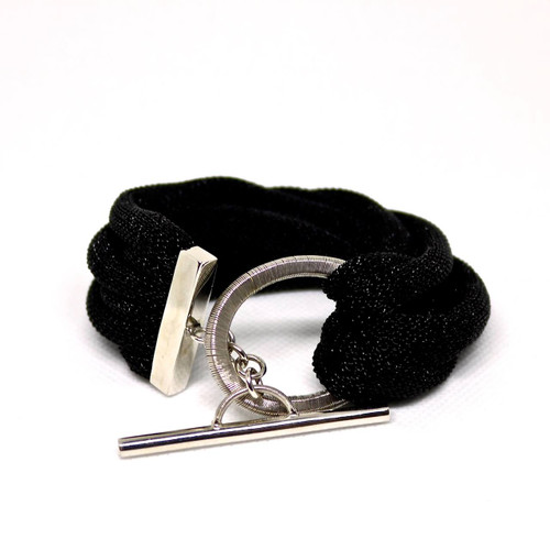 Adami & Martucci Black Mesh Multi-String Bracelet with Oval Buckle