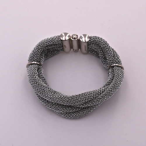 Adami & Martucci Silver Mesh Twisted Bracelet With Ring Clasps