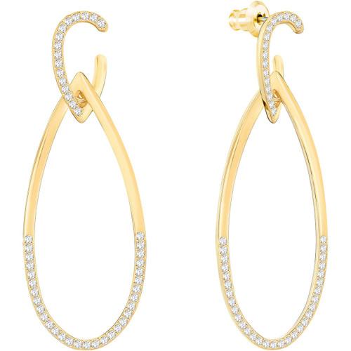 Swarovski Humming Pierced Earrings, Yellow-Gold