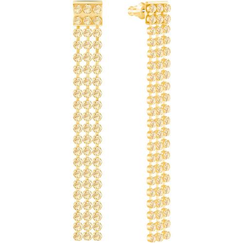 Swarovski Fit Long Pierced Earrings, Gold-Tone