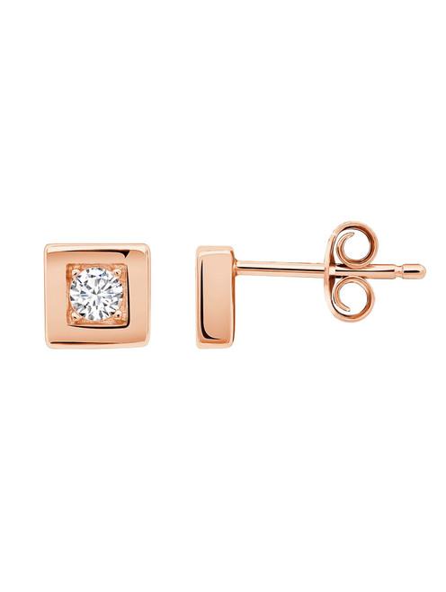 Crislu Square Frame Stud Earrings in Rose Gold