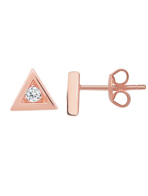 Crislu Triangle Frame Stud Earrings in Rose Gold