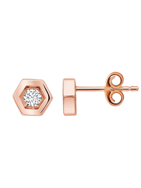 Crislu Hexagon Frame Stud Earrings in Rose Gold