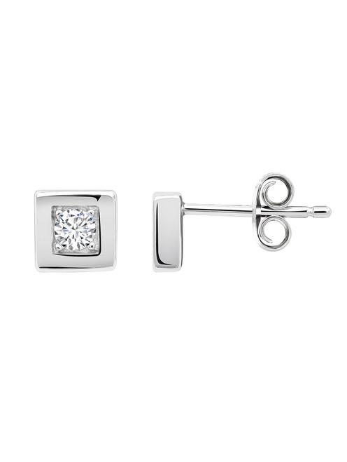 Crislu Square Frame Stud Earrings in Platinum