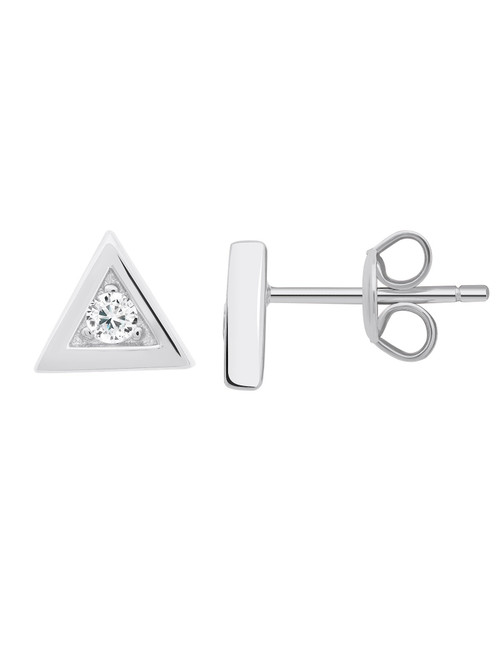 Crislu Triangle Frame Stud Earrings in Platinum