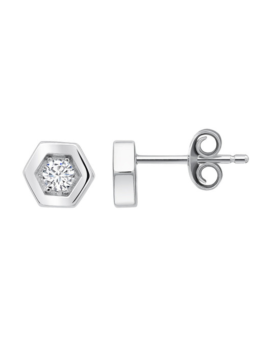 Crislu Hexagon Frame Stud Earrings in Platinum