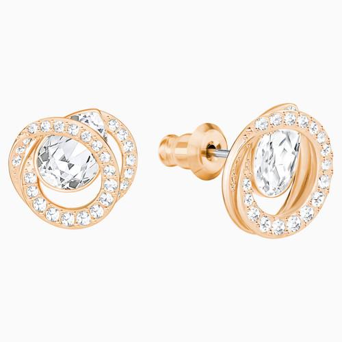 Swarovski Generation White Crystal Stud Earrings in Rose Gold