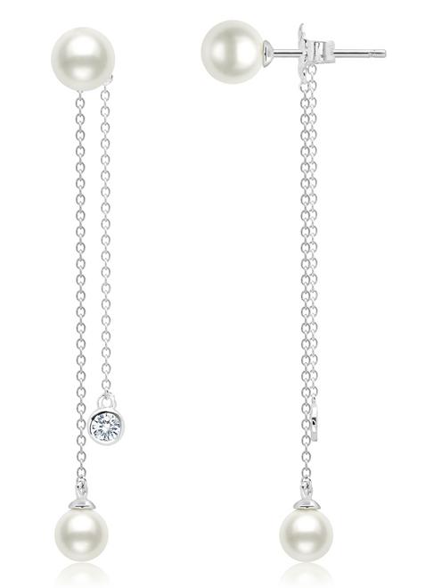 Crislu Freshwater Pearl and Bezel Set CZ Drop Chain Earrings