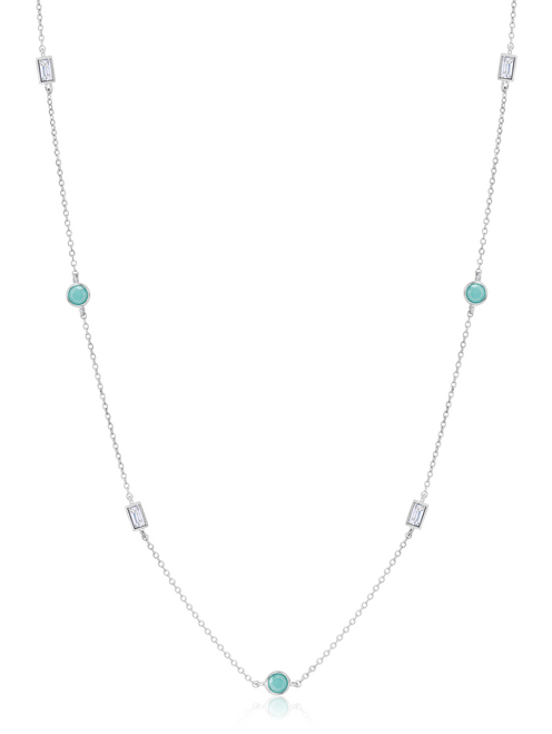 Crislu Turquoise and Baguette CZ Multi-Station Chain Necklace in Platinum