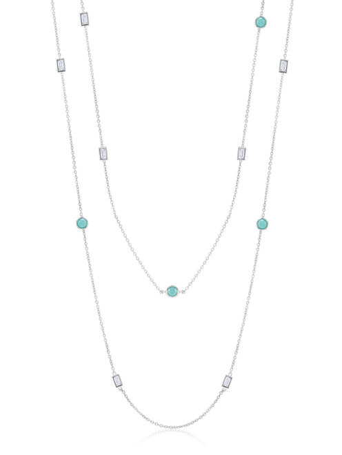 Crislu Turquoise and Baguette CZ Chain Long Necklace in Platinum