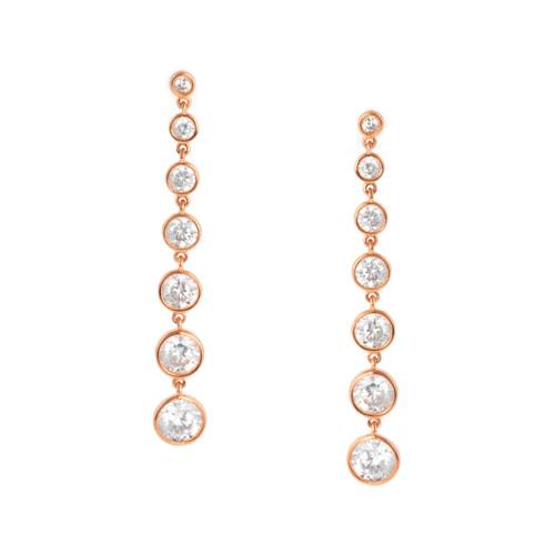 Crislu Bezel Set Long Drop Earrings in Rose Gold