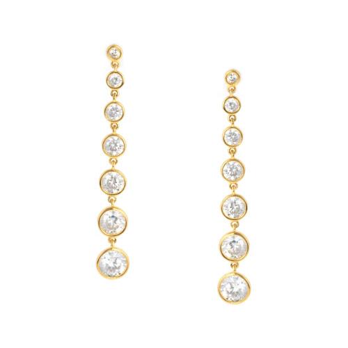 Crislu Bezel Set Long Drop Earrings in Yellow Gold