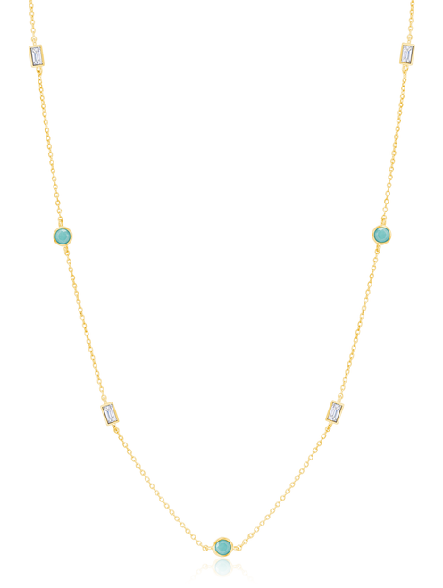 Crislu Turquoise and Baguette CZ Multi-Station Chain Necklace in Gold