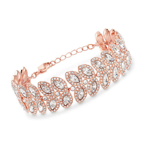 Swarovski Baron Rose Gold Leaf-Shape Crystal Bracelet