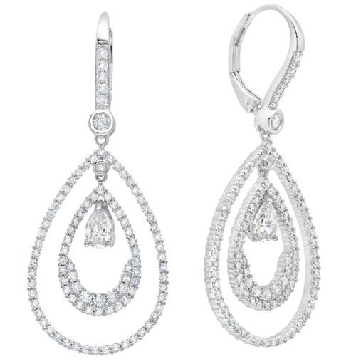Andrew Prince by Crislu Pear Shape Double Loop Drop Earrings