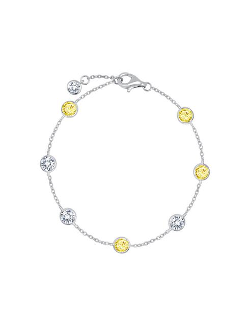Crislu 4 mm Bezel Set Chain Canary Anklet