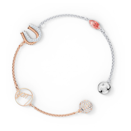 """Swarovski Remix Collection Two-Tone Bracelet with Horseshoe and Word """"Luck"""", size L"""