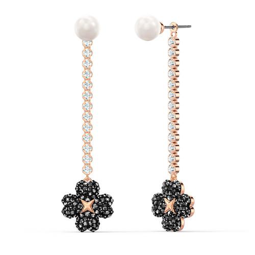 Swarovski Latisha Black Flower Drop Earrings in Rose Gold