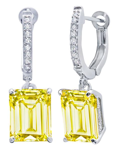 Crislu Emerald Cut Canary Leverback Earrings