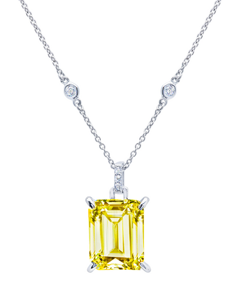 Crislu Emerald Cut Canary Crystal Pendant