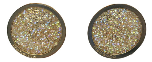 Circle Stud Earrings with Gold Glam