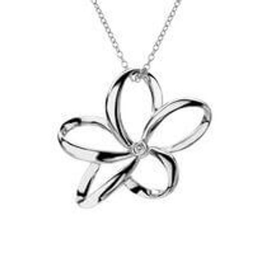 Hot Diamonds Plumeria Open Petal Flower Silver Pendant